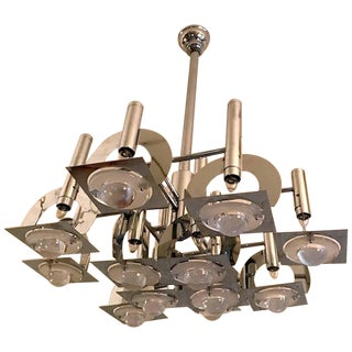1970s Reggiani Chrome and Glass Lens Geometric Abstract Chandelier For Sale