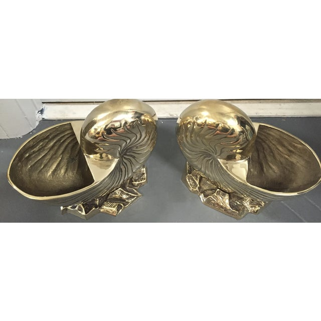 Vintage Brass Nautilus Shell Planters - A Pair - Image 3 of 8