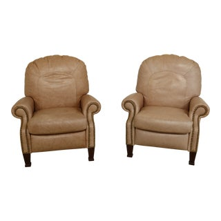 Pair Bradington Young High Quality Antique White Leather Recliner Chairs For Sale