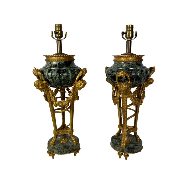 Verde Antico Marble Urns as Lamps After Pierre Gouthiere - a Pair For Sale - Image 11 of 11