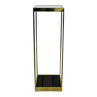 1960s Mid Century Modern Brass & Smoked Glass Plant Stand For Sale