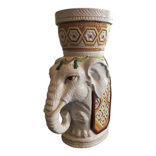 Ceramic Artisanal Decorative Planter With Elephant Indian Motif For Sale