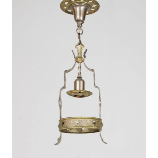 Gothic Small Brass and Nickel Hall Fixture For Sale - Image 3 of 9