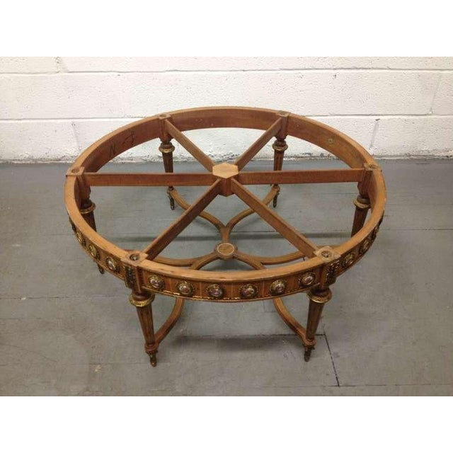 Metal Antique French Coffee Table with Porcelain Sevres Plaques For Sale - Image 7 of 8