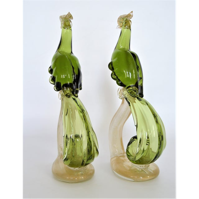 Alfredo Barbini 1950s Murano Glass Bird Figurines Sculptures- a Pair For Sale - Image 4 of 12