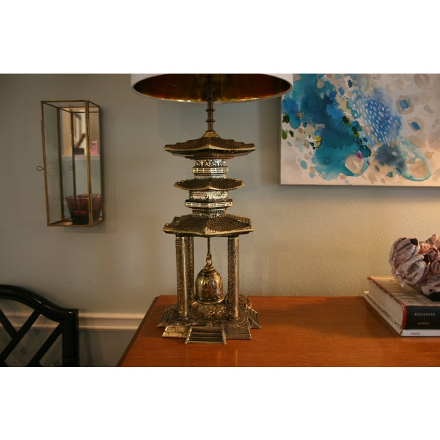 Gold Vintage Brass Pagoda Lamps - A Pair For Sale - Image 8 of 11