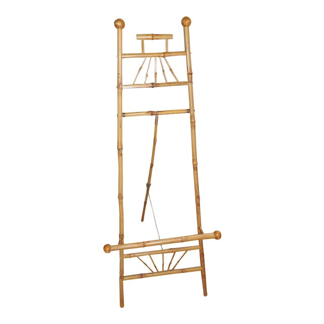 Antique Victorian Bamboo Floor Easel Display Stand For Sale