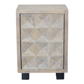 Indian Whitewashed Wooden 1-Door Side Cabinet With Iron Base For Sale