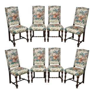 Louis XVI Style Set of 8 Custom French Upholstered Dining Chairs for Blair House LTD