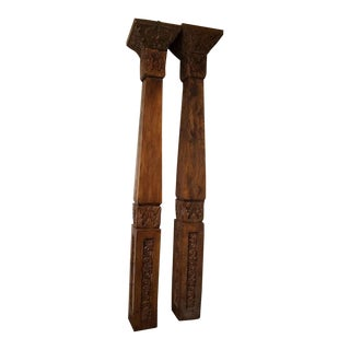 Balinese Carved Teak Columns - a Pair For Sale