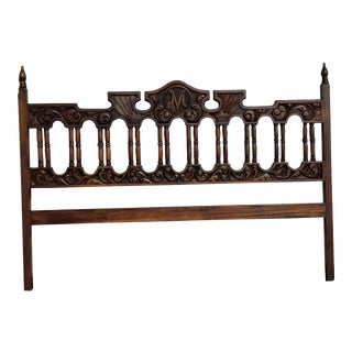 Vintage Spanish Style Ornately Carved Solid Wood King Headboard For Sale
