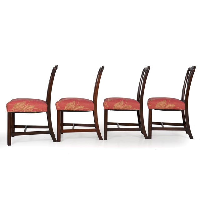 Wood 20th Century English Antique Carved Mahogany Dining Chairs - Set of 6 For Sale - Image 7 of 13