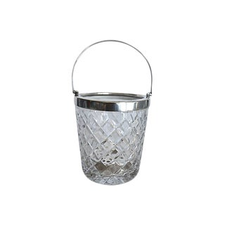 Cut Crystal & Silver Plate Ice Bucket For Sale