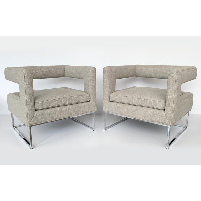 Bauhaus Milo Baughman Open Back Lounge Chairs - a Pair For Sale - Image 3 of 13