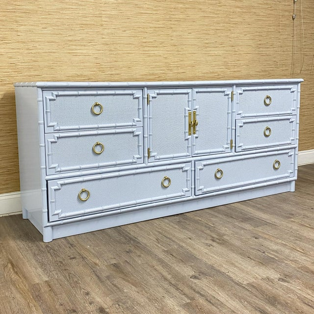 1960s Vintage Drexel Lexington Faux Bamboo Blue Gray Lacquered Credenza For Sale - Image 5 of 7