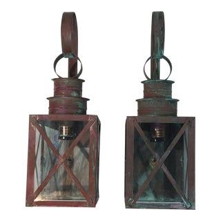 Architectural Wall Hanging Lanterns - A Pair