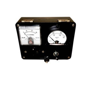 Dual Electrical Meter Set in Bakelite Case. Display As Sculpture. Circa Mid-20th Century For Sale