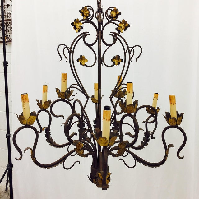Stunning Antique Hand Forged Wrought Iron & Italian Gold Tole Chandelier.  Perfectly Rustic and incredibly - Antique Hand Forged Wrought Iron Tole Chandelier Chairish