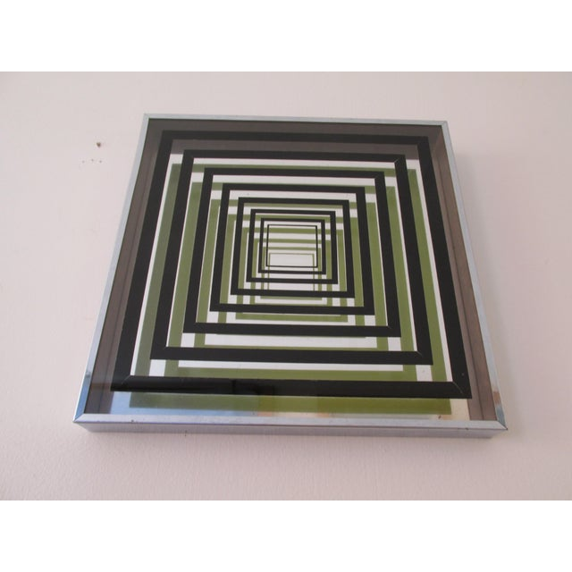 Vintage 60s three dimensional Op Art in the manner of Victor Vasarely. Box- like construction with reverse painted glass...