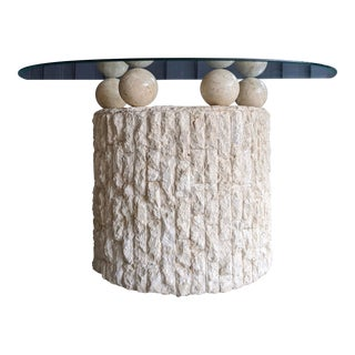 Maitland Smith Split Face Stone Console With Spheres For Sale
