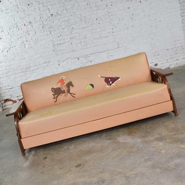Mid Century Cowboy Western Wagon Wheel Convertible Dude Ranch Sofa For Sale - Image 4 of 13