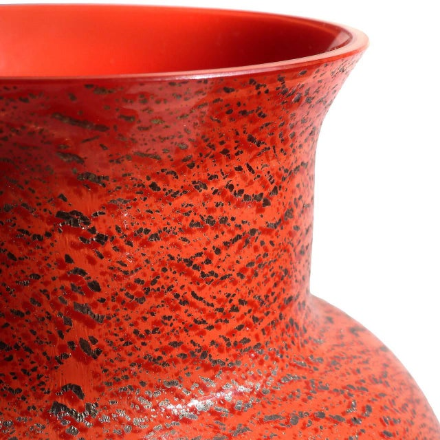 Murano Red Applied Heavy Silver Leaf Italian Art Glass Flower Vase For Sale In Orlando - Image 6 of 8