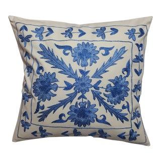 Blue Flower Design Crochet Pillow Cover For Sale
