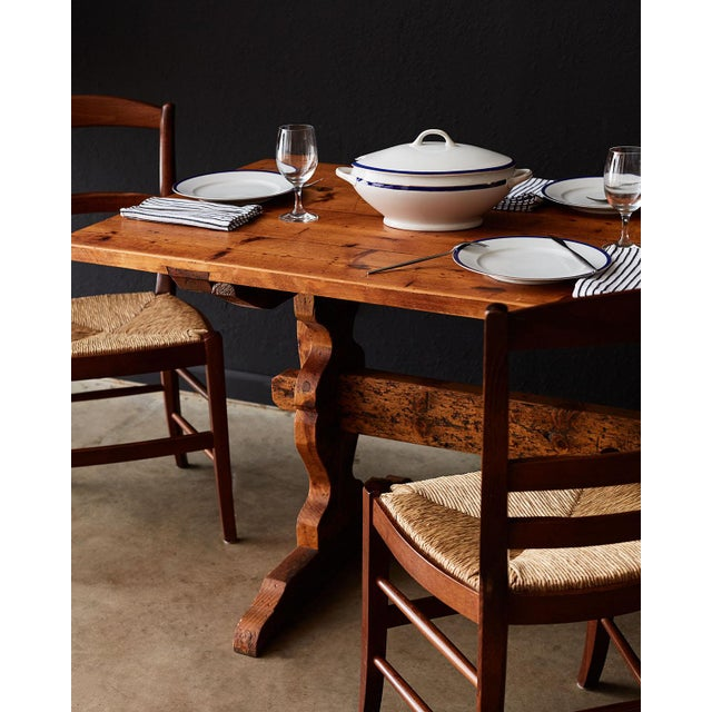 Rustic Italian Baroque Style Pine Trestle Farm Table For Sale - Image 11 of 13