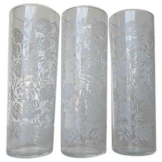 White Rose Stenciled Lemonade Glasses - Set of 3 For Sale