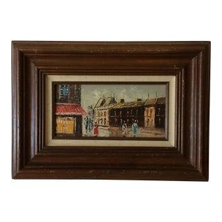 Mid-Century Oil on Canvas Masonite Street Scene Painting