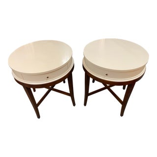 Century Furniture Circular Ivory Lacquer Side Tables - a Pair For Sale