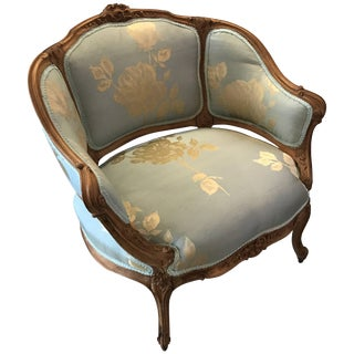 20th Century Louis XV Hand-Carved Silk Upholstered Walnut Chair