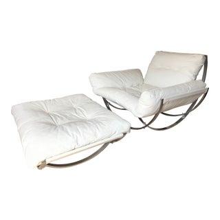 "Leonart Bender for Charlton 1970s Chrome Framed ""Apollo"" Chair & Ottoman - A Pair"
