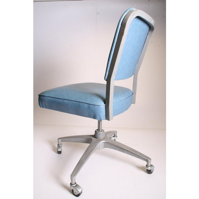 Mid Century Modern Blue Vinyl Swivel Office Chair - Image 7 of 11