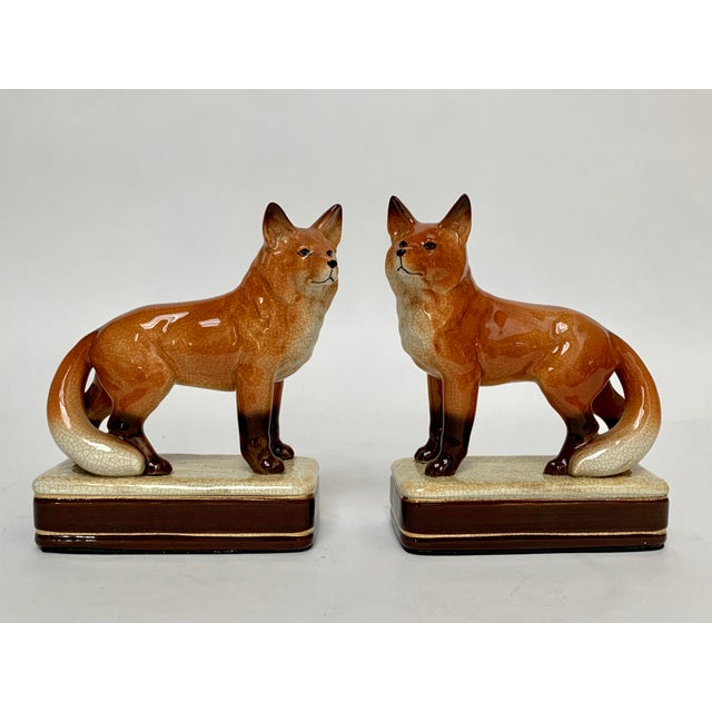 English Staffordshire Style Fox Bookends – a Pair For Sale - Image 3 of 12
