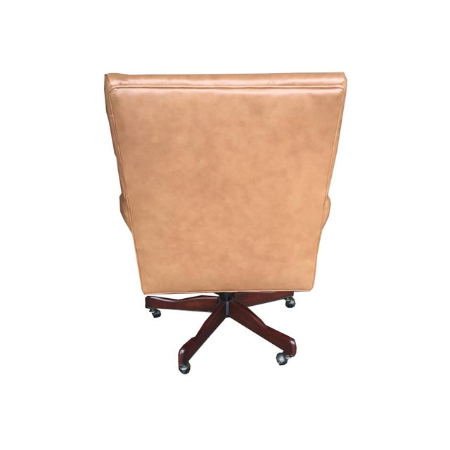 Vintage Mid Century Modern Tan Leather Chesterfield Style Executive Office Chair - Image 4 of 4
