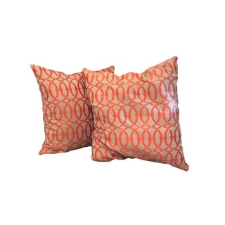 Boho Chic Taupe & Orange Zipper Cased Throw Pillows - a Pair For Sale