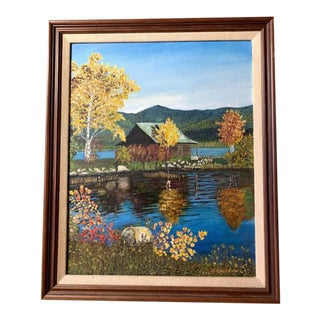 Original Oil Painting - Cabin on a Lake For Sale