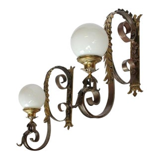 1920s Vintage American Bronze Wall Sconces- A Pair For Sale