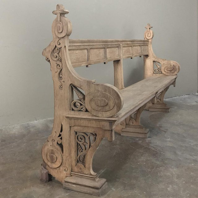 19th Century Gothic Stripped Oak Church Pew For Sale - Image 4 of 13