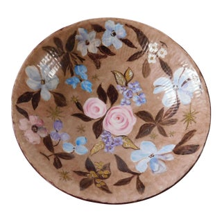 Hand-Painted Swedish Floral Porcelain Bowl For Sale