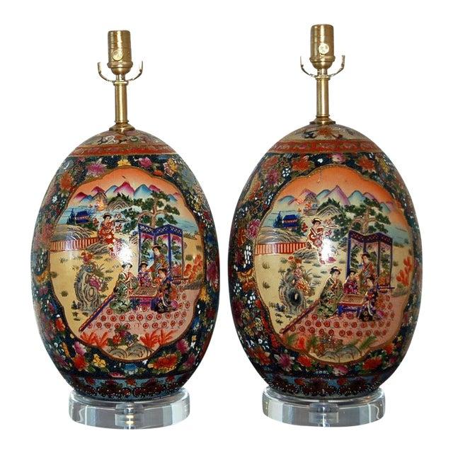 Vintage Satsuma Table Lamps For Sale