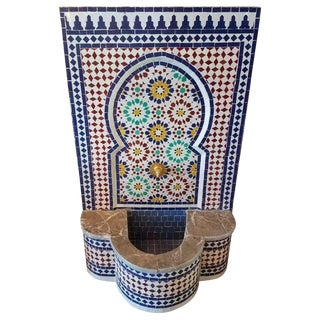 Moroccan Marble Border Multi-Color Tile Fountain For Sale
