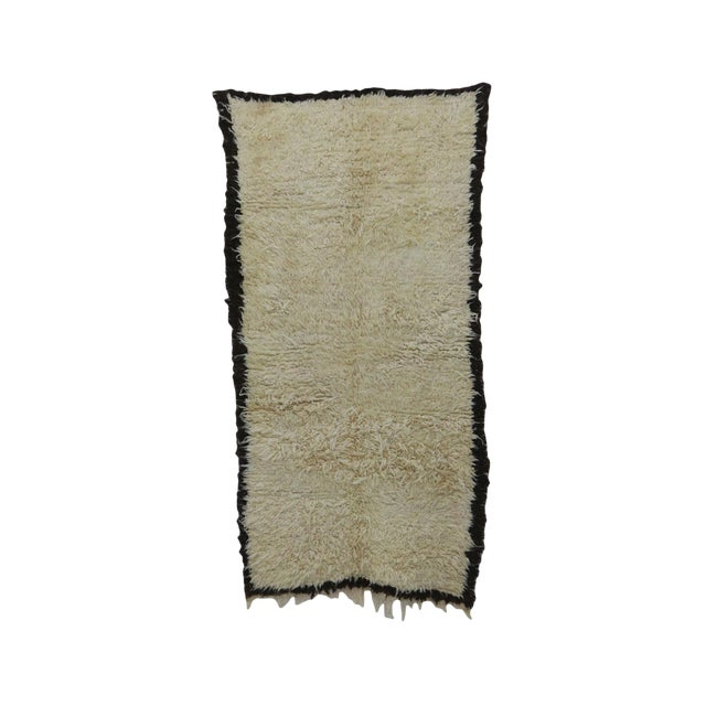 """1980s Vintage Beni Ourain Rug- 3'11"""" X 7'7"""" For Sale"""