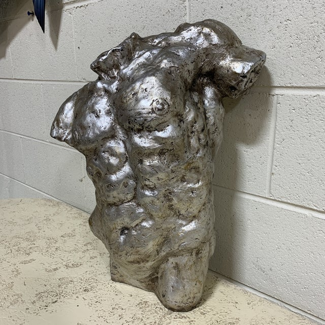 Very cool heavy resin torso Sculpture finished in a rustic silver leaf. This was made by Mac Sculpture about 15 years ago....