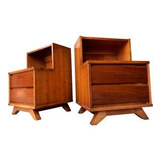 Mid Century Modern Solid Cherry Nightstands - a Pair