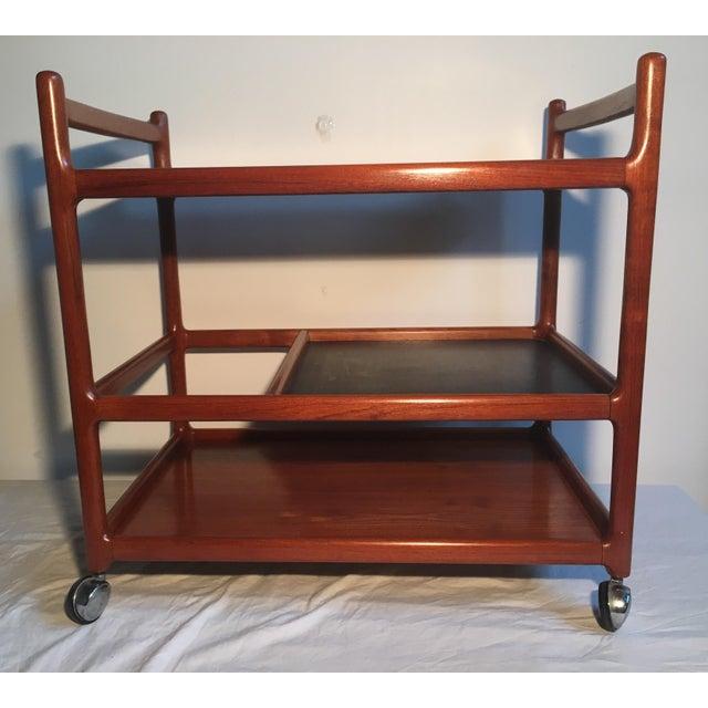 Johannes Andersen Mid-Century Solid Teak Bar Cart For Sale In Chicago - Image 6 of 11