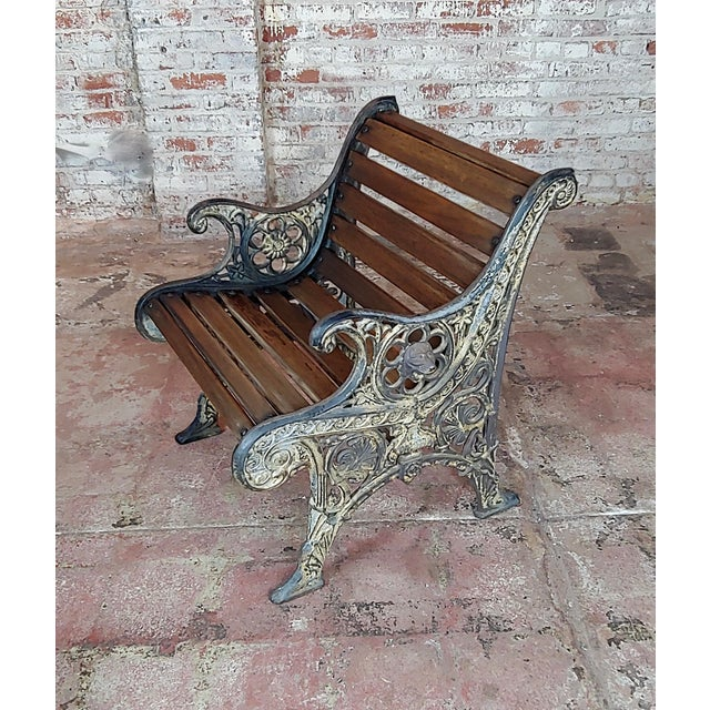 19th Century Fabulous Cast Iron & Wood Patio / Garden 3 Pieces Set For Sale - Image 9 of 11