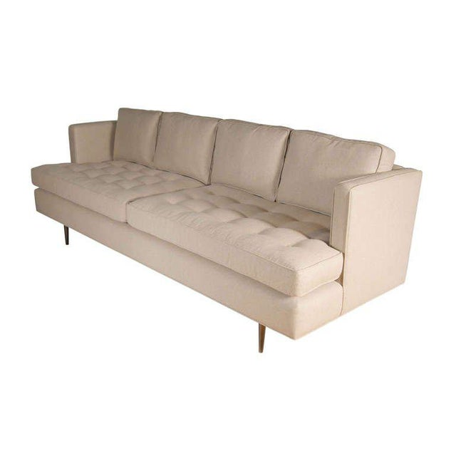 Modern Customizable Brown Tufted Sofa For Sale - Image 3 of 6