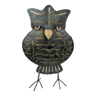 Brutalist Metal Owl Votive Holder For Sale